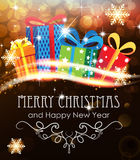 Christmas presents on abstract holiday background Stock Image