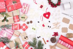 Christmas Presents And Decoration On White Wooden Background Stock Photo