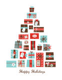 Christmas presents arranged as a seasonal tree Royalty Free Stock Images