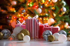 Christmas presents and balls Royalty Free Stock Photos