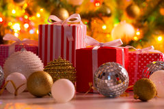 Christmas presents and balls Royalty Free Stock Image