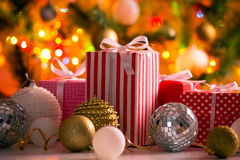Christmas presents and balls Royalty Free Stock Photography