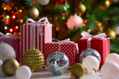Christmas presents and balls Stock Images
