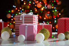 Christmas presents and balls Royalty Free Stock Images
