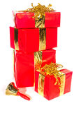 Christmas presents with bell. Stacked red Christmas presents with bell from Santa Claus Royalty Free Stock Photography