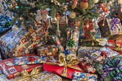 Christmas presents below tree Stock Photography