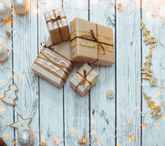 Christmas presents boxes stock images