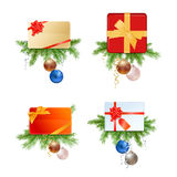 Christmas Presents and Cards with Fir Branches and Decorations. On White Background Royalty Free Stock Photos