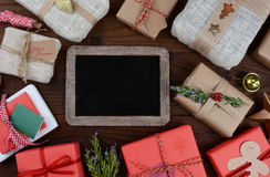 Christmas Presents and Chalkboard Stock Photos