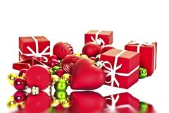 Christmas presents and christmas ornaments Stock Images