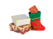 Christmas presents and christmas sock isolated on white Royalty Free Stock Photo