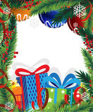 Christmas presents and Christmas tree Stock Images