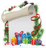 Christmas presents and Christmas wreath Royalty Free Stock Photo