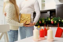 Christmas presents. The couple gives presents in the new year Royalty Free Stock Image