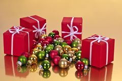 Christmas presents with decoration Royalty Free Stock Images