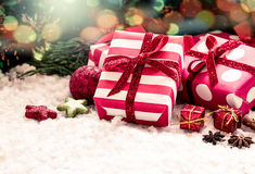 Christmas presents with decoration Stock Photos