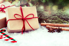 Christmas presents with decoration on snow Stock Photos