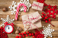 Christmas presents. And decorations on wooden background Royalty Free Stock Photography