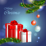 Christmas presents. Christmas decorative background and presents stock illustration