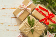 Christmas presents in decorative boxes Royalty Free Stock Images