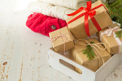 Christmas presents in decorative boxes Royalty Free Stock Photography