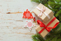 Christmas presents in decorative boxes Stock Photos