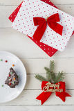 Christmas Presents and Dessert. Christmas Background Royalty Free Stock Photography