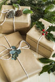 Christmas presents with festive foliage Royalty Free Stock Image