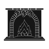 Christmas presents on the fireplace single icon in black style for design. Christmas vector symbol stock illustration.  Stock Image