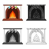 Christmas presents on the fireplace single icon in cartoon,black,flat,monochrome style for design. Christmas vector. Symbol stock illustration Royalty Free Stock Image