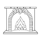 Christmas presents on the fireplace single icon in outline style for design. Christmas vector symbol stock illustration.  Stock Photo