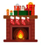 Christmas presents on the fireplace. Sketch of postcard, invitation, poster Royalty Free Stock Photos