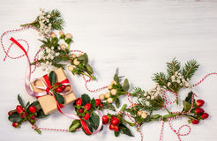 Christmas presents and garlands Royalty Free Stock Images