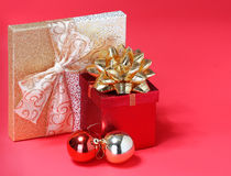 Christmas Presents. Gift Boxes with Gold Bow Stock Image