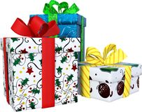 Christmas Presents, Gift Boxes, Isolated
