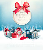 Christmas presents with a gift card and a ribbon. stock illustration