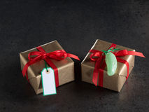 Christmas presents, gift tag, christmas decorations Royalty Free Stock Image