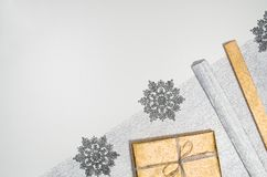 Christmas presents or gifts background frame top view on white Royalty Free Stock Photos