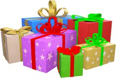 Christmas Presents, Gifts, Packages, Isolated Stock Photos