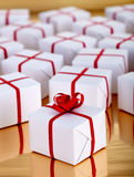 Christmas presents on golden surface Royalty Free Stock Photo