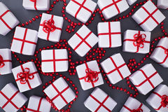 Christmas presents on gray background Royalty Free Stock Image