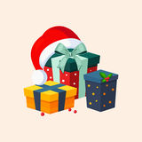 Christmas Presents and Hat. Vector Illustration Stock Photo