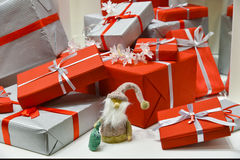 Christmas presents. Heap of christmas presents, festive setting Royalty Free Stock Image