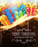 Christmas presents on holiday background Royalty Free Stock Photos