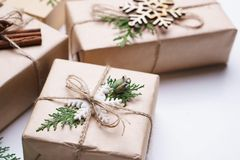 Christmas gift boxes on white background, close up royalty free stock photos