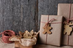 Christmas Presents with Holiday Shaped Cookies Stock Photo