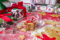 Christmas presents with homemade gingerbread cookies. Christmas bustle concept Stock Photography