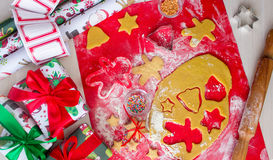 Christmas presents with homemade gingerbread cookies. Christmas bustle concept Royalty Free Stock Photography