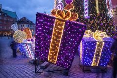 Christmas Presents Illuminated at Night Royalty Free Stock Images