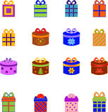 Christmas Presents Illustrations. Isolated decorative red, blue, green Christmas  presents Royalty Free Stock Photography